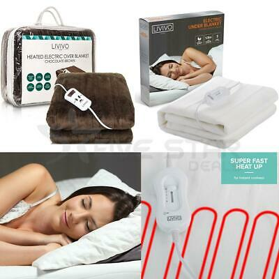 Super Cosy Electric Blanket Under Heated Fast Heat Single Double King Over Throw