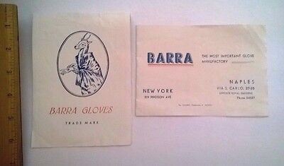 Lot of 2 - Vintage 1940s Color Ads Flyers Barra of Italy Gloves with Naples Map