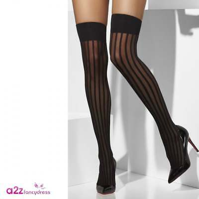 a8a9698c5 Sexy Black Sheer Stripe Hold Up Stockings Burlesque Show Girl Ladies Fancy  Dress