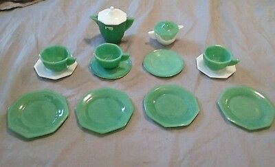 vintage 1930s Akro Agate 15 piece JADITE childrens tea set one piece damaged, fi