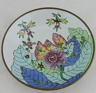 Vintage Asian Chinese Decorative Porcelain/brass Plate Lotus Plants Hand Painted