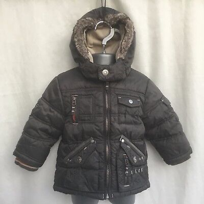 Next Baby Boys Grey Padded Fleece Lined Hooded Coat Jacket - Age 9-12 Months