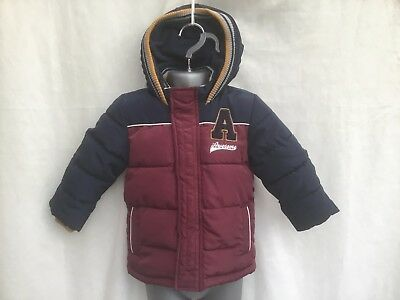 Baby Boys Burgundy & Blue Padded Fleece Lined Hooded Coat Jacket Age 9-12 Months