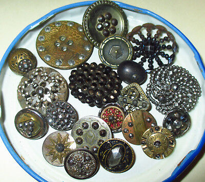 Collection Lot 20 Antique Faceted Riveted Steel & Steel Cup Buttons - Flowers +