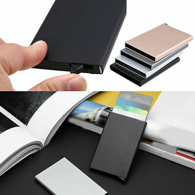 Stainless Steel Business ID Credit Card Holder Wallet Metal Pocket PU Box Case