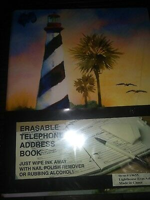 Beach Tropical Address Book~Lighthouse Cover~Spiral Hardcover~New Erasable