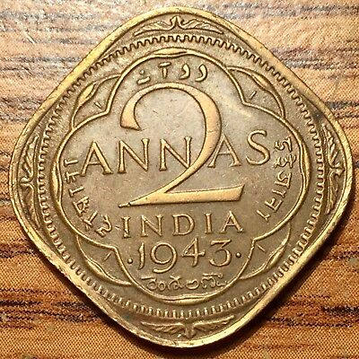 1943 B India 2 Annas King George VI Emperor Coin Bombay Mint