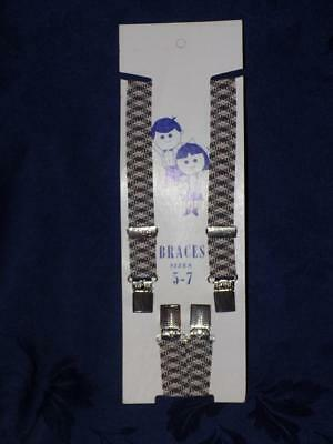 Boy's Braces / Boys Suspenders -on card-GRAY & RED  SIZE 5-7