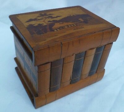 c1950s VINTAGE JAPANESE INLAID WOODEN PUZZLE MONEY BOX SECRET OPENING MOUNT FUJI