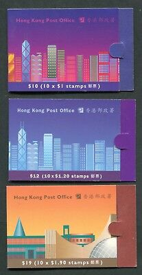 1993/1997 China Hong Kong $10,$12 & $19 stamp Booklets - Fine Complete Booklets