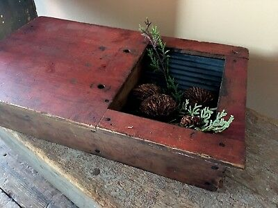 Early Excelsior Box W/crimped Blue Tin Well some Square Nails In Old Red Paint