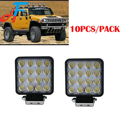10x 48W Square LED Work Light 12V 24V Off Road Flood Spot Lamp Car Truck SUV 4WD