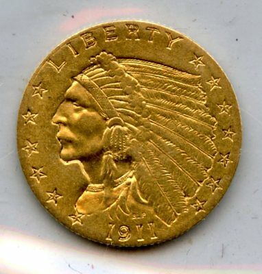 Amazing 1911 Indian Head Eagle $2 1/2 Dollar .90 Fine Gold Coin RR911