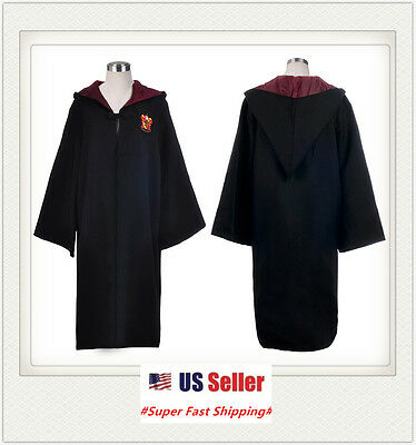 New Harry Potter Robe Gryffindor School Kids/Adults Magic Cosplay Cloak Gift US