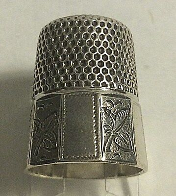 Antique Stern Bros. Sterling Silver Leaf Paneled Thimble Sewing Sz 9