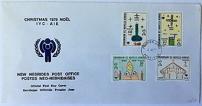 New Hebrides 1979 FDC cover with Christmas issue children's drawings