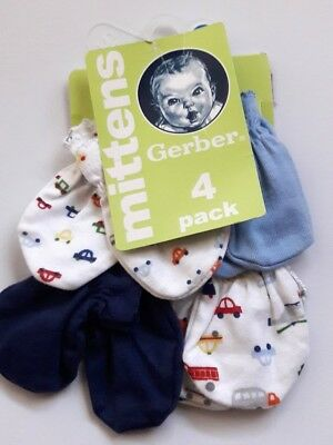 NEW Gerber 4-Pack of Mittens Size 0-3 Months (Up to 12 Pounds) NIP!!