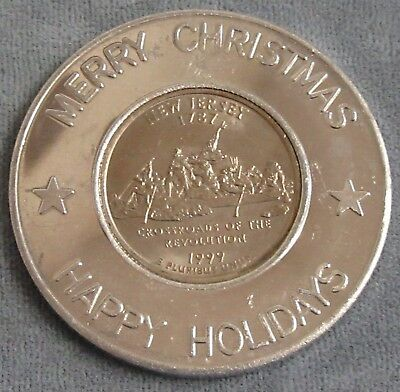 Encased 1999 New Jersey State Quarter in Merry Christmas Happy Holidays