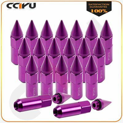 20 Pc Cap Spiked Extended Tuner Purplr Aluminum Wheels Rims Lug Nuts M12 x1.5