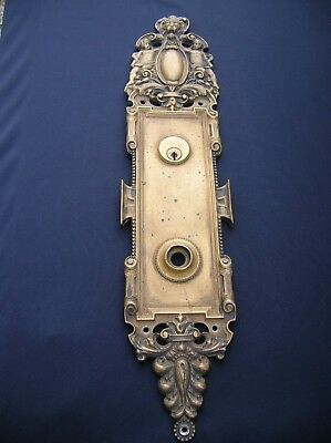 Super Rare & Highly Ornate Vintage Antique Bronze Figural Door Knob Backplate