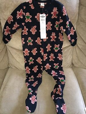 NWOT Boys Girls Old Navy GINGERBREAD MAN Holiday Fleece Footed Pajamas 12-18 mth