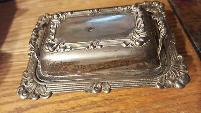 """ANTIMONY WARE """"Y""""  traditional silver Covered Dish Occupied Japan post war WWII"""