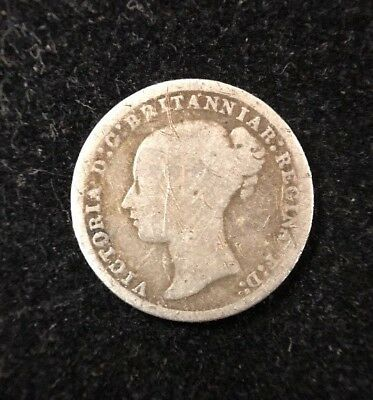 1877 Great Britain 3 Pence Silver Britanniar Collectible Coin