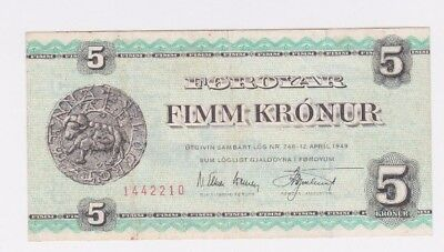 Faeroe Islands 5 Kronur 1949 (1951-60) P 13b RARE