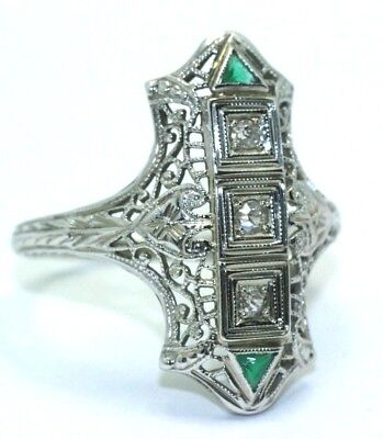 Art Deco Emerald & Diamond Filigree Ring 18K White Gold Antique Vintage