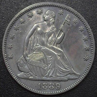 1889 Seated Liberty Silver 50 Cents  Nearly Uncirculated  Only 12,000 Minted!
