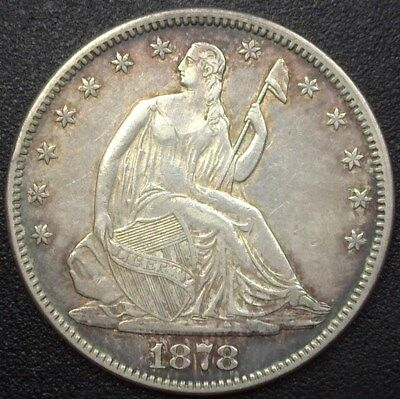 1878 Seated Liberty Silver 50 Cents  About Uncirculated
