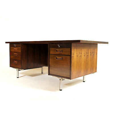 Retro Vintage Danish Rosewood Large Double Pedestal Executive Office Desk 1970s