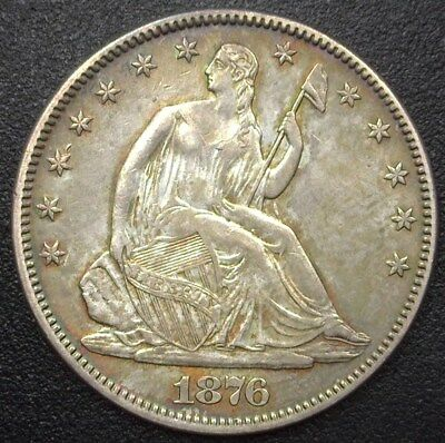 1876 Seated Liberty Silver 50 Cents  Choice Almost Uncirculated