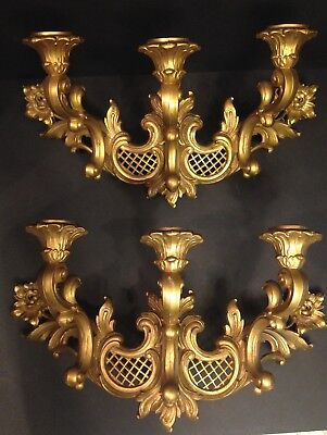 Vintage Homco 4002T Pair Wall Sconces Candle Holders PROVINICAL 1966 Syroco Gold