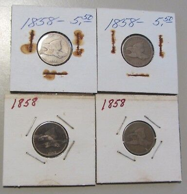 LOT OF 4 1858 FLYING EAGLE CENTS 1c