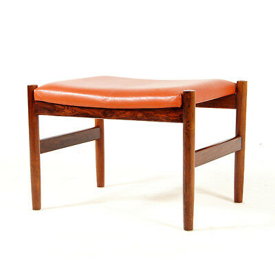 Retro Vintage Danish Rosewood & Faux Leather Foot Stool Piano Chair Ottoman 60s