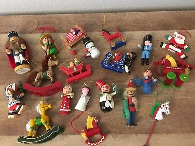 LOT of 20 VINTAGE WOOD Christmas Tree Ornaments Steinbach Hand Painted Variety