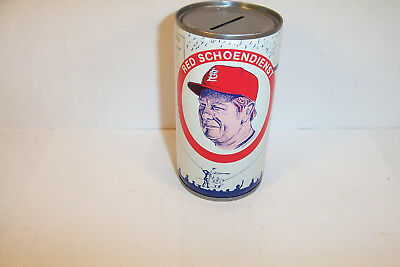 """Red Schoendienst Novelty Bank Can """"Dedication 2/20/77 Germantown IL"""" StL Cards"""