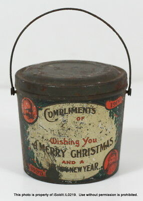ANTIQUE CHRISTMAS PEANUT BUTTER TIN JAR PAIL W/ LID & HANDLE Candy Early 1900s
