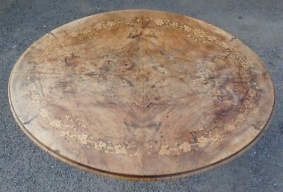 Victorian antique burr walnut marquetry inlaid oval dining breakfast loo table