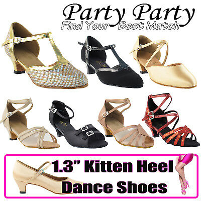 "~50 SHADES~ 1.3"" Kitten Low Heel Dance Dress Shoes Collections-II by Party Party"