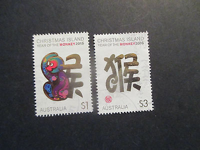 N0-1--2016  Christmas   Island  Year  Of  Monkey  2    Stamps -Used  --A1