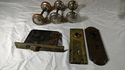 Vintage antique Lot of  hardware 3 DOOR KNOBS 2 FACE PLATES AND 1 MORTISE