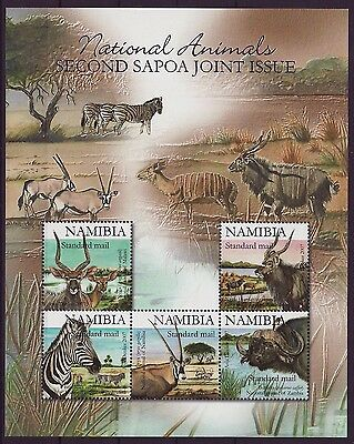 Namibia 2007 SAPOA National Animals Mini-Sheet / SILVER, MNH (Zebra, Buffalo)