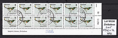 Zimbabwe 2005 Birds E-value in Block of 12 (sheet number), VFU (WU36)