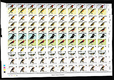 Zimbabwe 2005 Birds Imprint Strips of 20 (full set), MNH - high CV! (7884)