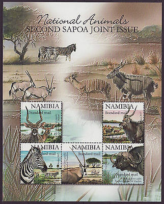 Namibia 2007 SAPOA National Animals Mini-Sheet / BLACK, MNH (Zebra, Buffalo)