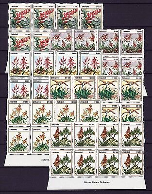 Zimbabwe 2004 Aloes Imprint Blocks, MNH (sheet margin)