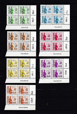Zimbabwe 2000 Postage Dues number blocks, MNH (sheet corner)