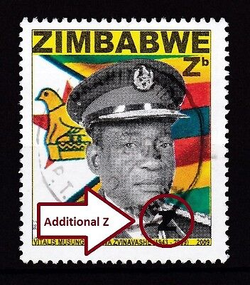 "Zimbabwe 2009 Major Plate ERROR ""Additional Z"" on Heroes, VFU - RARE"